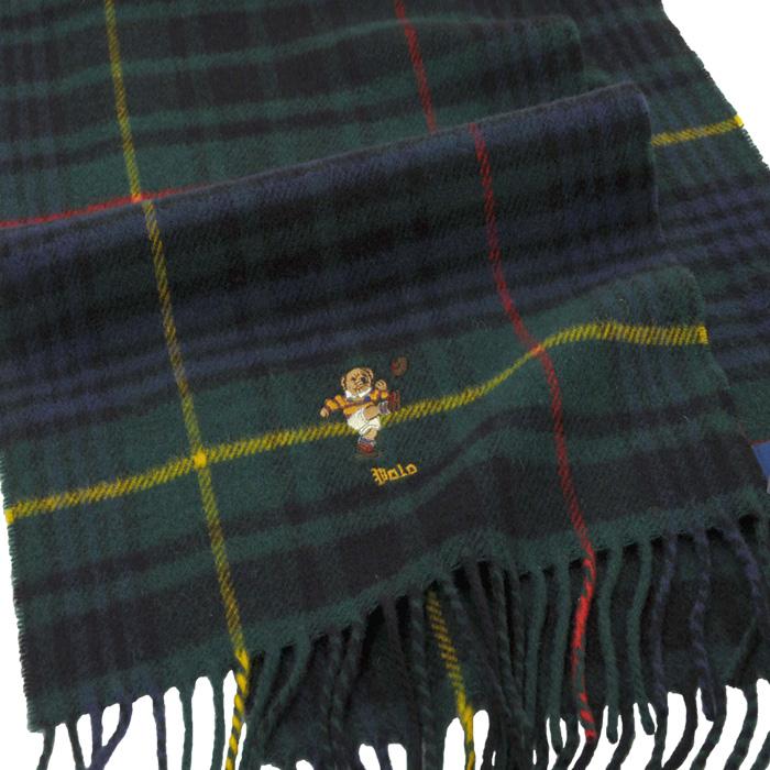ラルフローレン ポロベアー刺繍 タータンチェックマフラー グリンマルチ 354