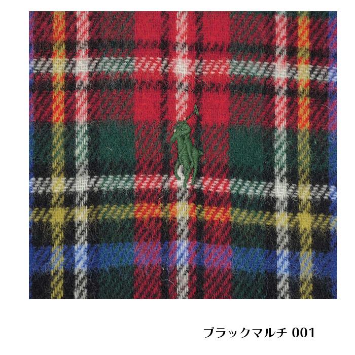 ラルフローレン リバーシブル スコットランド風タータンチェックマフラー ブラックマルチ 001