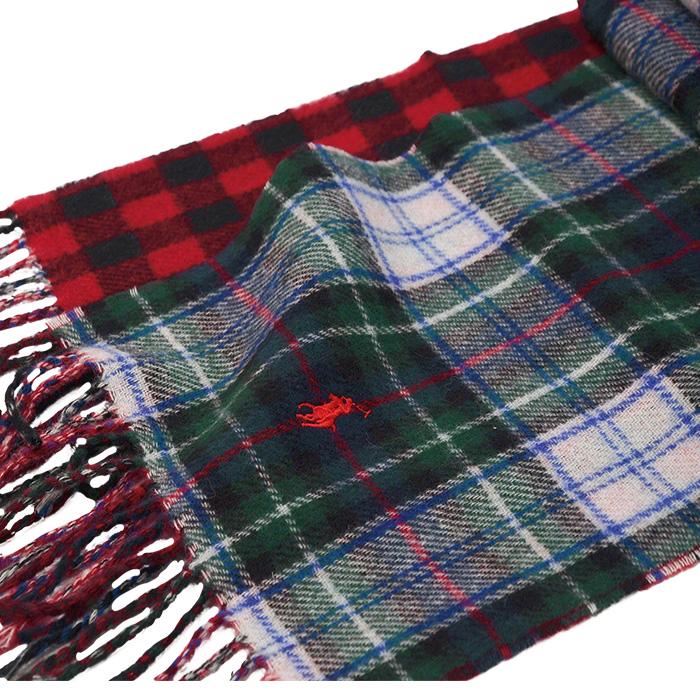 ラルフローレン リバーシブル スコットランド風タータンチェックマフラー ホワイトマルチ345