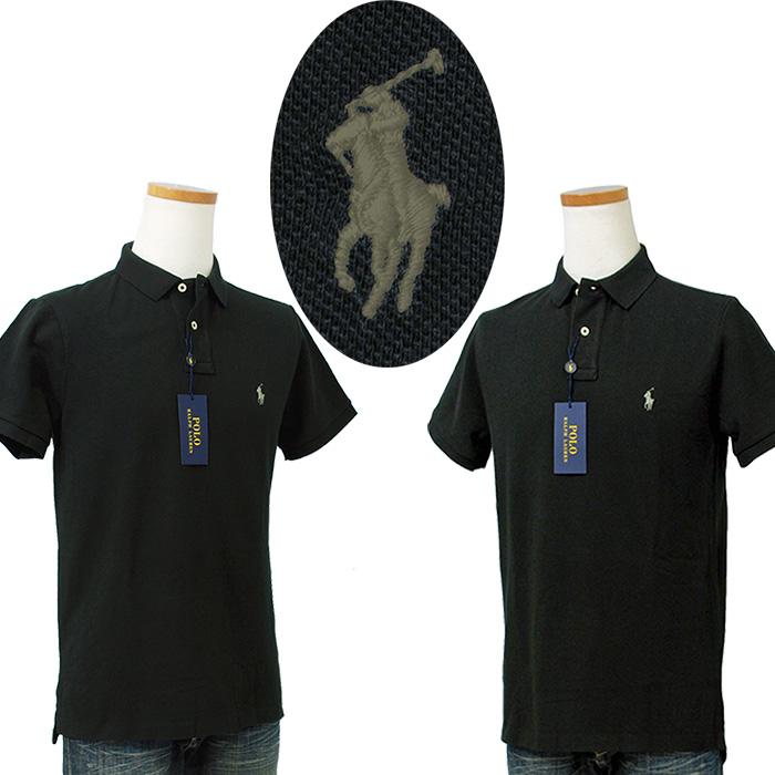 ラルフローレン メンズ 半袖 鹿の子 ポロシャツ ブラックグレー