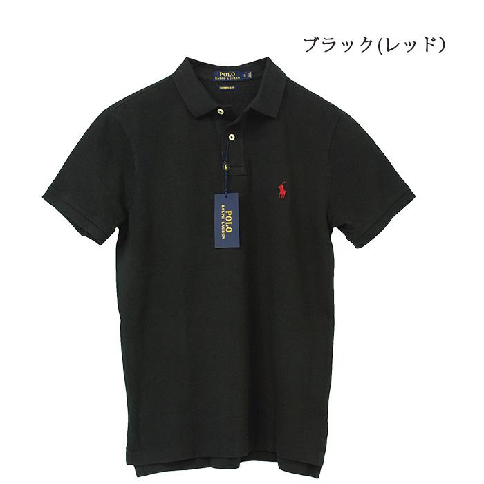 POLO ラルフローレン メンズ 半袖 鹿の子 ポロシャツ レッド ブラック