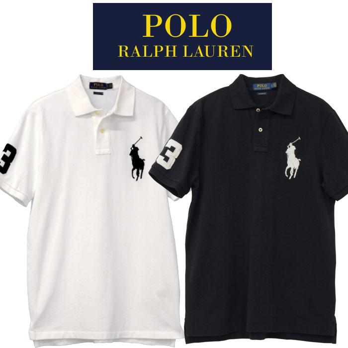 ラルフローレン メンズ POLO ビッグポニー半袖ポロシャツ ホワイト ブラック
