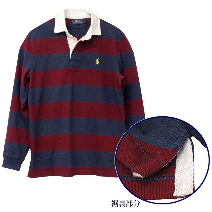 ラルフローレン メンズ 長袖ボーダーラガーシャツ レッド/ネイビー