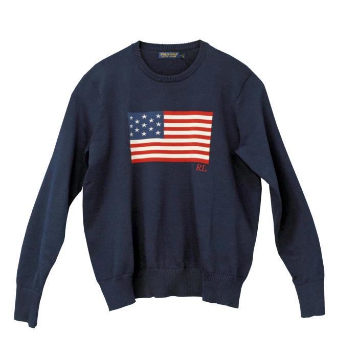 ポロ ゴルフ ラルフローレン メンズ 星条旗クルーネックセーター