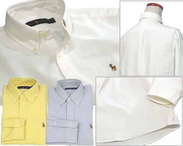 Ralph Lauren コットン オックスフォードシャツ ホワイト イエロー ストライプ