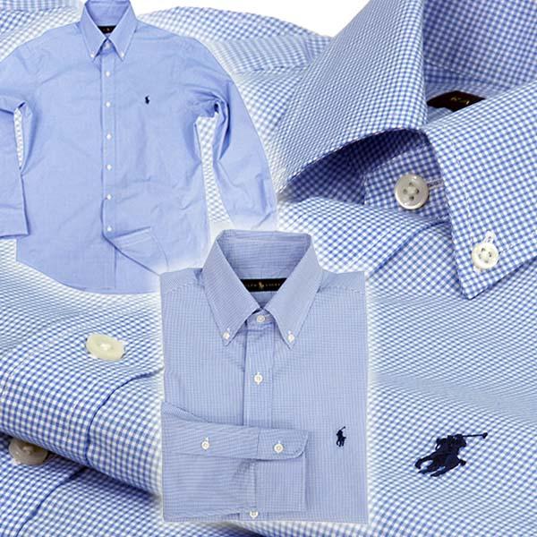 ラルフローレン 80's Sueded ブロードクロス千鳥格子柄 長袖シャツ ブルー/ホワイト