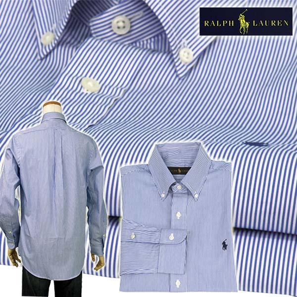 ラルフローレン メンズ 80's Sueded ブロードクロス長袖 ペンストライプシャツ ブルー