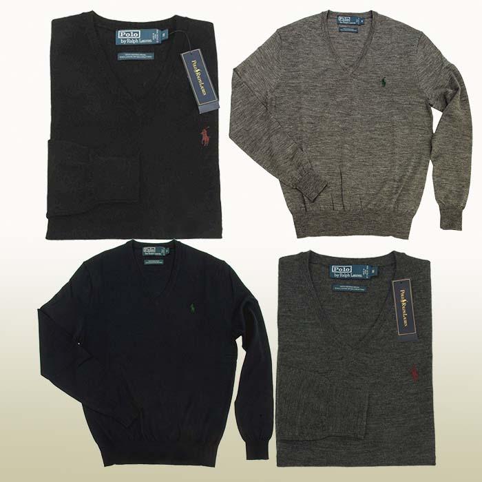 ラルフローレン メンズ Vネックセーター イタリア製メリノウ-ル100% ブラック ネイビー グレー チャコールグレー