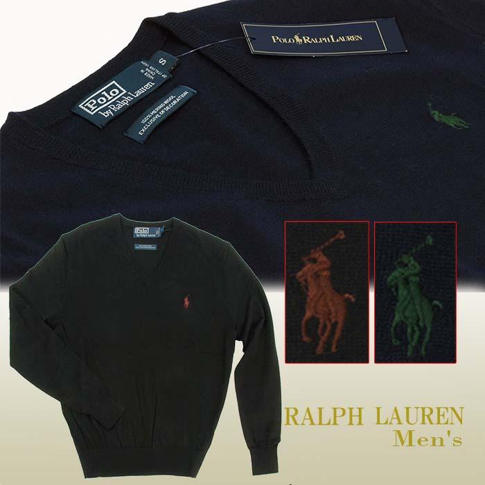 POLO ラルフローレン メンズ Vネックセーター イタリア製メリノウ-ル100% ブラック ネイビー
