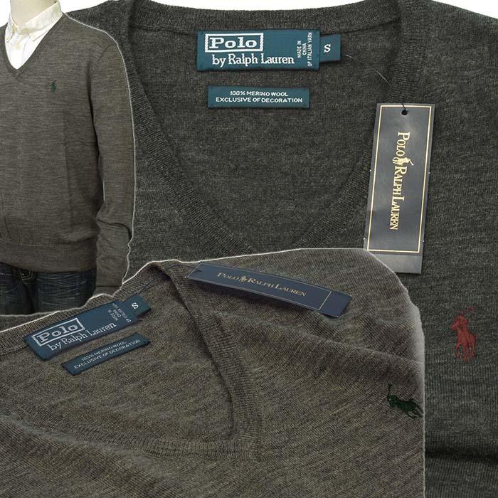 ラルフローレン メンズ Vネックセーター イタリア製メリノウ-ル100% チュコールグレイ グレー