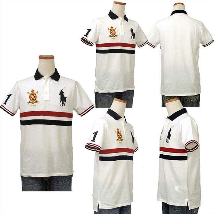 ラルフローレン メンズ ビッグポニー コットン 半袖 ポロシャツ ホワイト レッド ネイビー