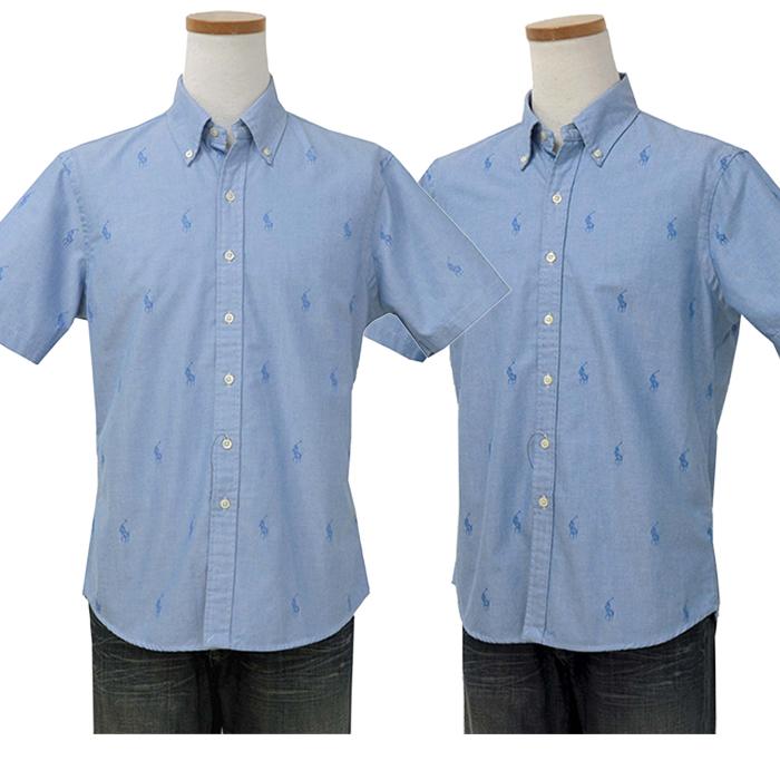 ラルフローレン メンズ 総柄 半袖オックスフォードシャツ