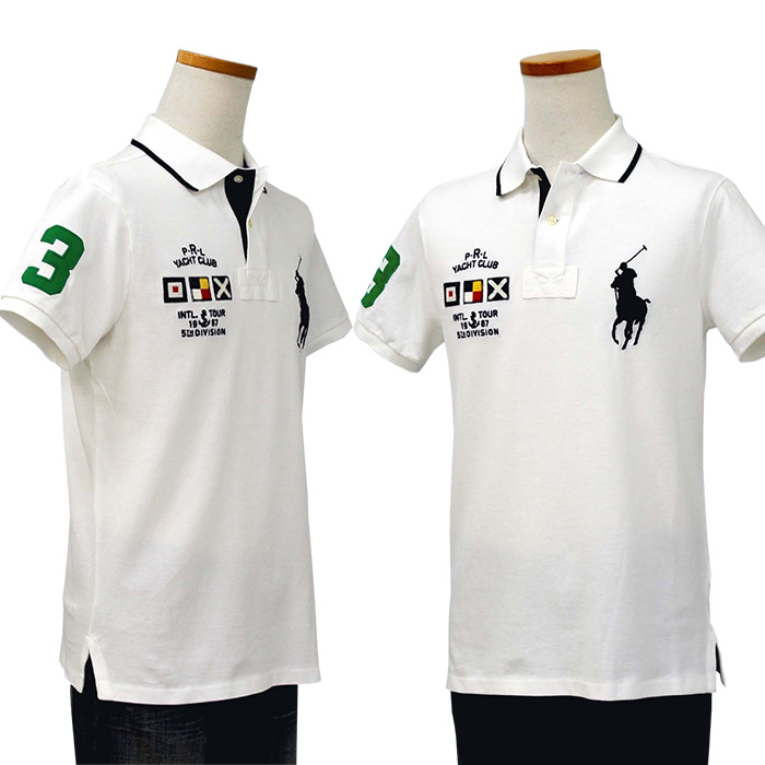 POLO ラルフローレン メンズ ビッグポニー、フラッグ半袖鹿の子ポロシャツ カスタムスリムフィット ホワイト /></td> </tr> </table>   <br> <table class=