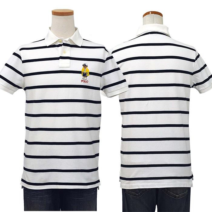 ラルフローレン メンズ カスタム スリム CP-93 ベア 半袖ポロシャツ カスタムスリムフィット ホワイト