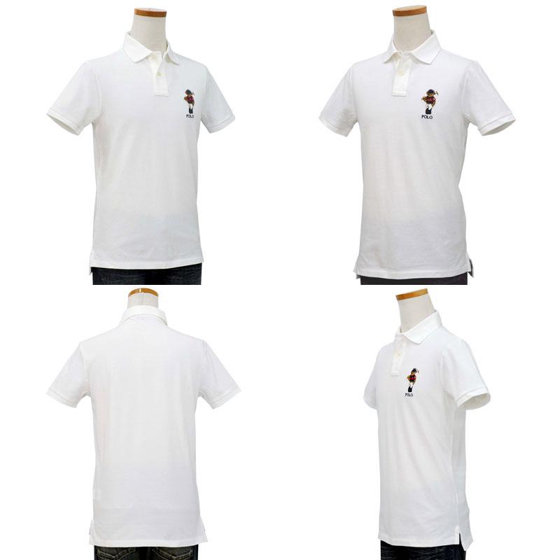 POLO ラルフローレン メンズ ベア半袖ポロシャツ カスタムスリムフィット ホワイト