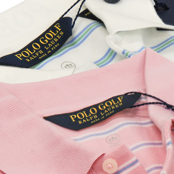 POLO ラルフローレン メンズ POLO GOLF 半袖ボーダーポロシャツ 衿部分