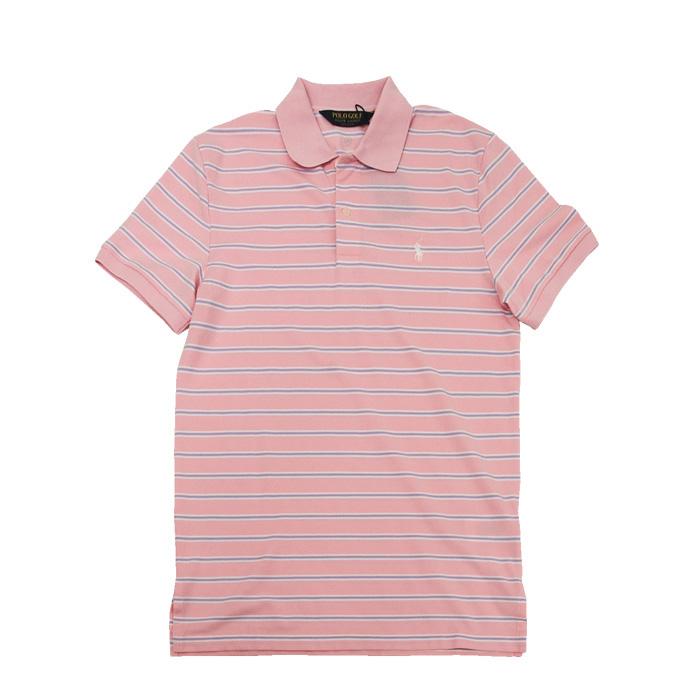 ラルフローレン メンズ POLO GOLF 半袖ボーダーポロシャツ ピンク